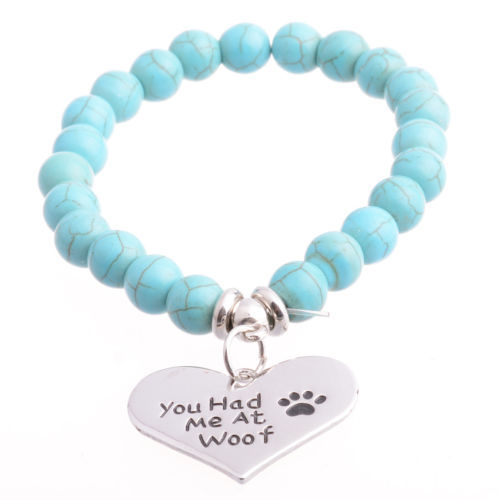 "Turquoise armband ""You had me at woof"""